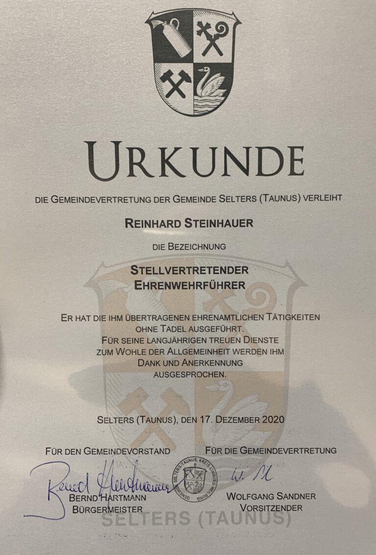 """Verleihung der Ehrenbezeichnung """"stellv. Ehrenwehrführer"""""""